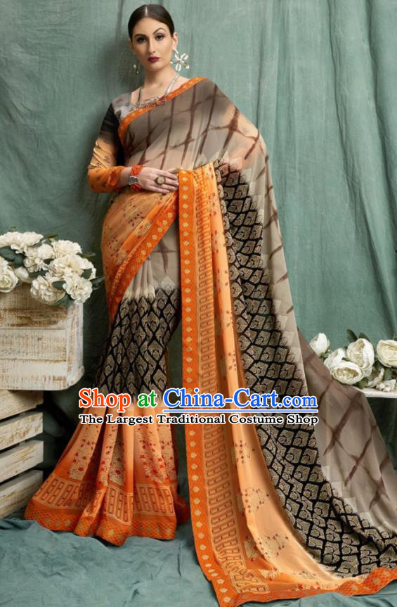 Asian Indian Bollywood Printing Brown Chiffon Sari Dress India Traditional Costumes for Women