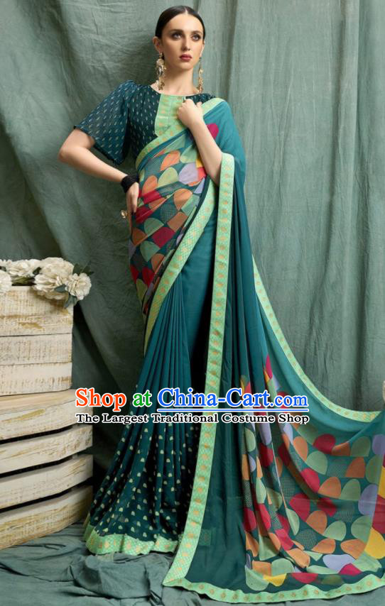 Asian Indian Bollywood Printing Green Chiffon Sari Dress India Traditional Costumes for Women