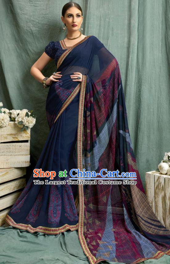 Asian Indian Bollywood Printing Navy Chiffon Sari Dress India Traditional Costumes for Women