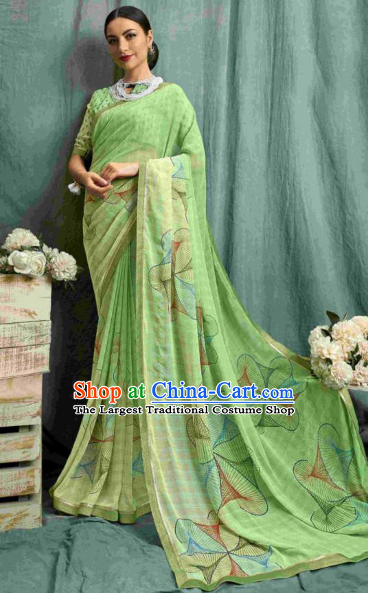 Asian Indian Bollywood Printing Light Green Chiffon Sari Dress India Traditional Costumes for Women