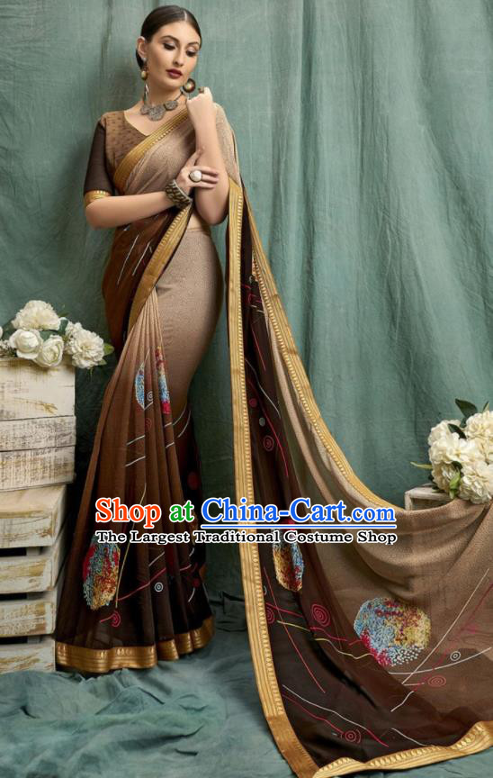 Asian Indian Bollywood Printing Deep Brown Chiffon Sari Dress India Traditional Costumes for Women