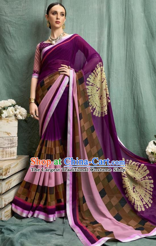Asian Indian Bollywood Printing Purple Chiffon Sari Dress India Traditional Costumes for Women