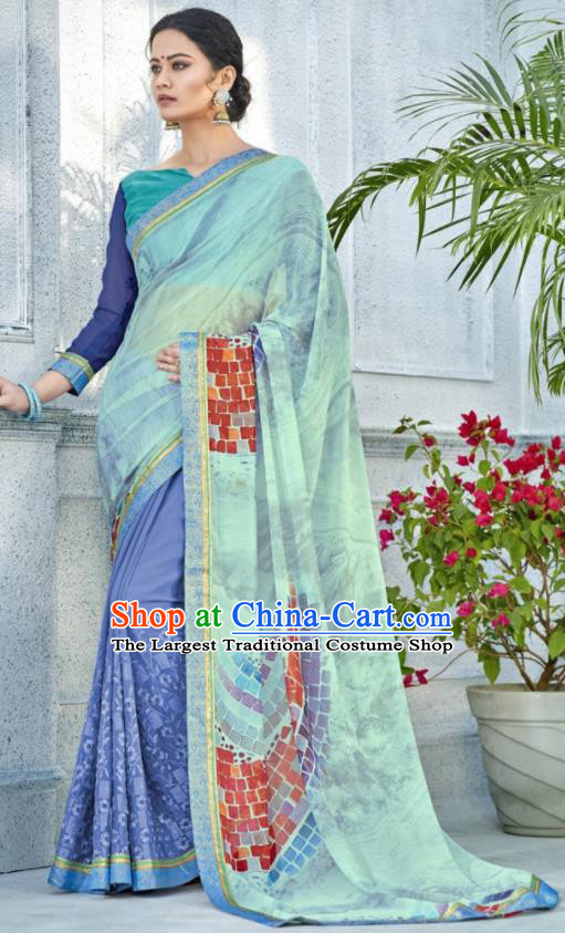 Asian Indian Bollywood Embroidered Light Green Chiffon Sari Dress India Traditional Costumes for Women