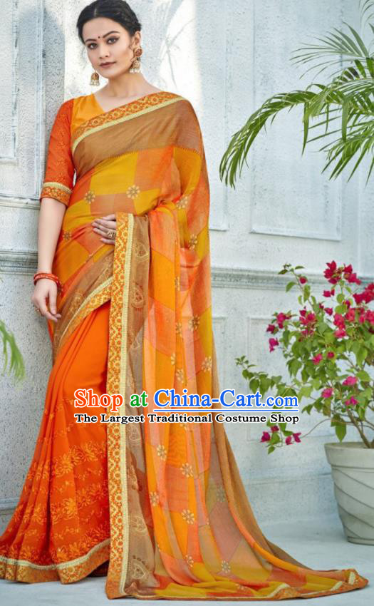 Asian Indian Bollywood Embroidered Orange Chiffon Sari Dress India Traditional Costumes for Women