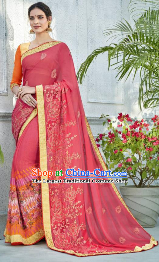 Asian Indian Bollywood Embroidered Peach Pink Chiffon Sari Dress India Traditional Costumes for Women