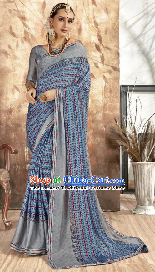 Asian Indian National Bollywood Printing Blue Chiffon Sari Dress India Traditional Costumes for Women