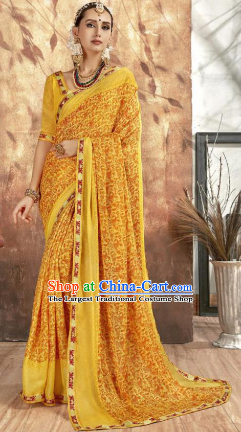 Asian Indian National Bollywood Printing Yellow Chiffon Sari Dress India Traditional Costumes for Women