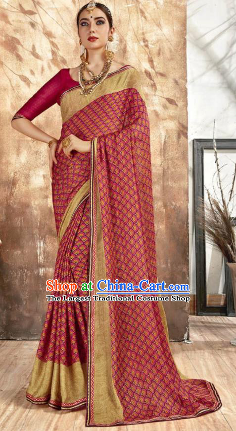 Asian Indian National Bollywood Printing Wine Red Chiffon Sari Dress India Traditional Costumes for Women