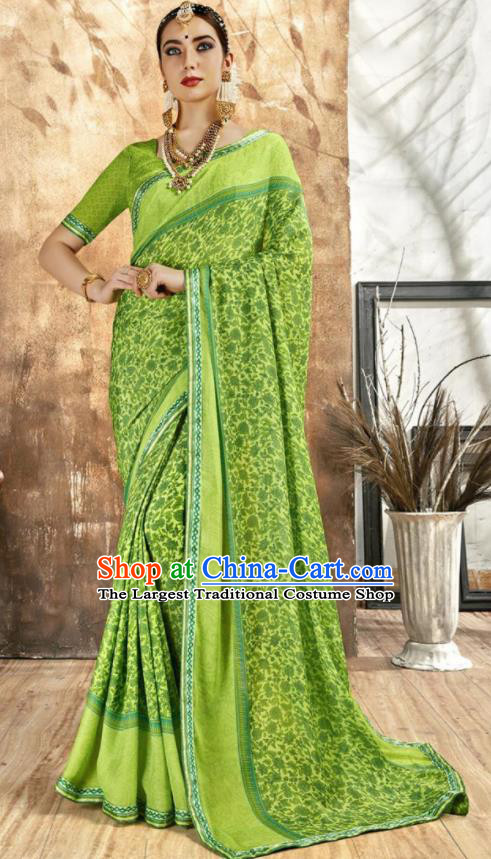 Asian Indian National Bollywood Printing Green Chiffon Sari Dress India Traditional Costumes for Women