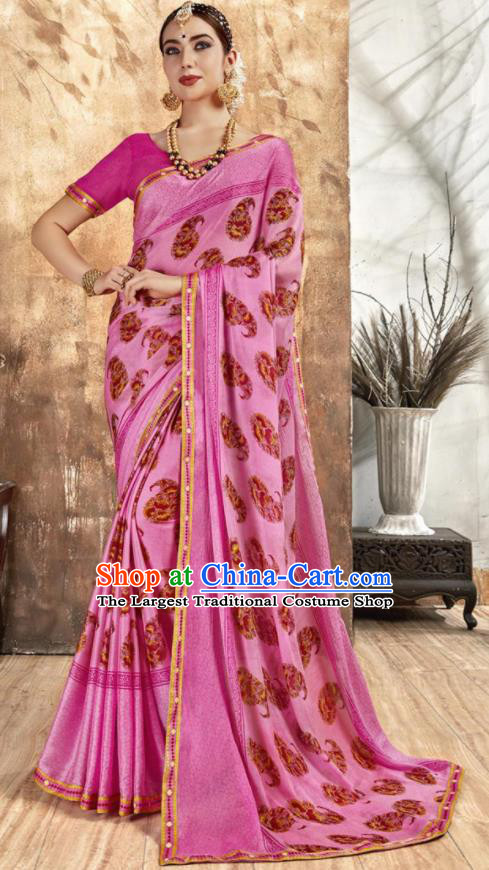 Asian Indian National Bollywood Printing Pink Chiffon Sari Dress India Traditional Costumes for Women