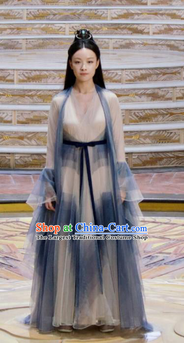 Chinese Ancient Goddess Ling Xi Silk Dress Drama Love and Destiny Ni Ni Replica Costumes and Headpiece for Women