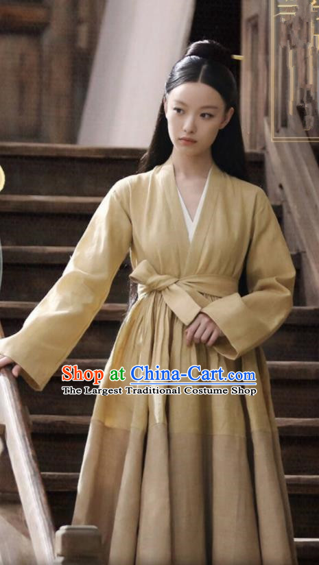 Chinese Ancient Maidservant Yellow Cloth Dress Drama Love and Destiny Female Civilian Lin Mo Ni Ni Replica Costumes for Women