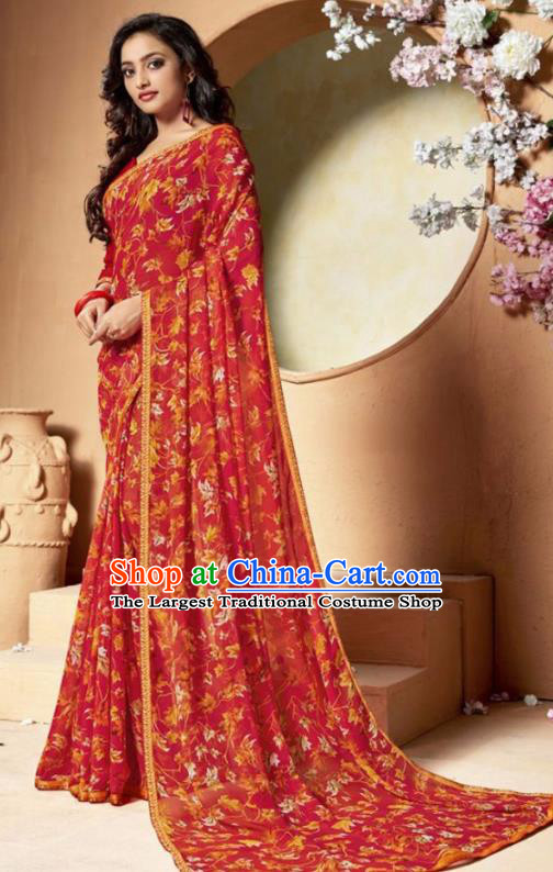 Indian Traditional Court Printing Red Chiffon Sari Dress Asian India National Festival Costumes for Women