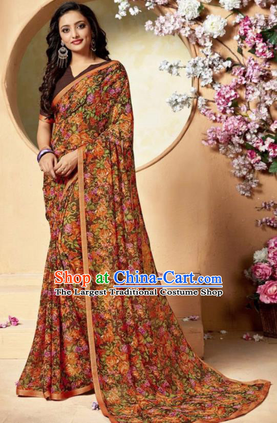 Indian Traditional Court Printing Chiffon Sari Dress Asian India National Festival Costumes for Women