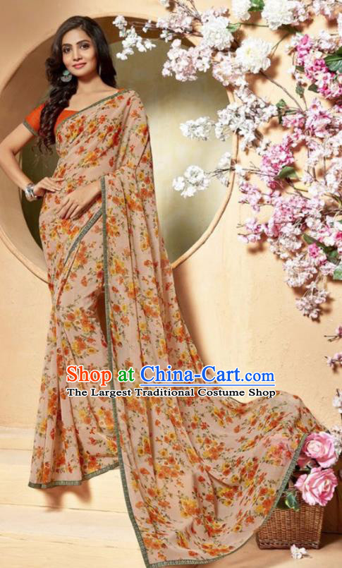 Indian Traditional Court Printing Light Khaki Chiffon Sari Dress Asian India National Festival Costumes for Women