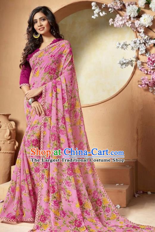 Indian Traditional Court Printing Roses Pink Chiffon Sari Dress Asian India National Festival Costumes for Women
