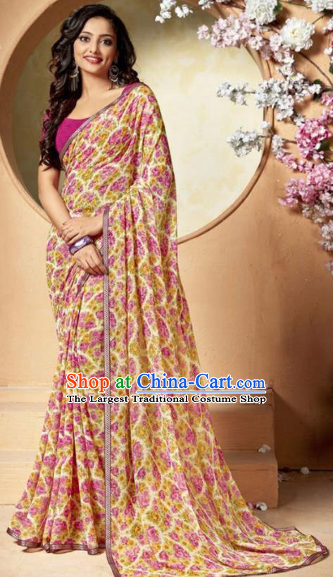 Indian Traditional Court Printing Pink Flowers Chiffon Sari Dress Asian India National Festival Costumes for Women