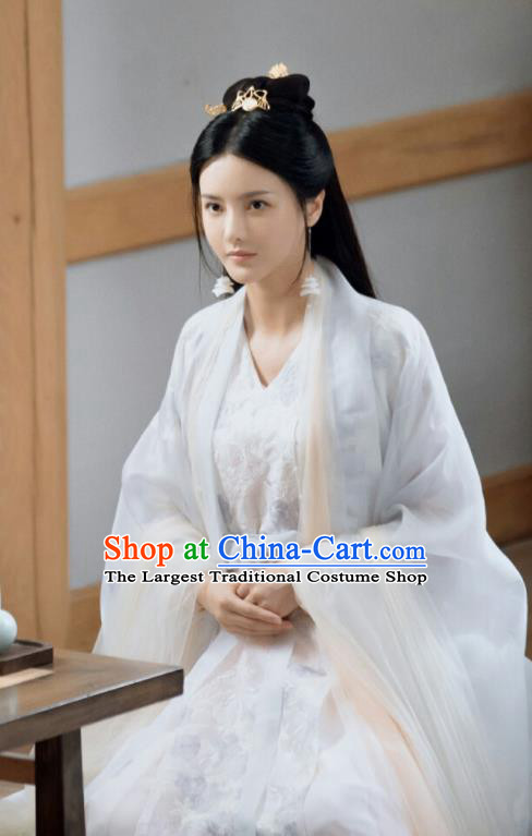 Chinese Drama Ancient Goddess Dress Love and Destiny Princess Qing Yao Replica Costumes and Headpiece for Women
