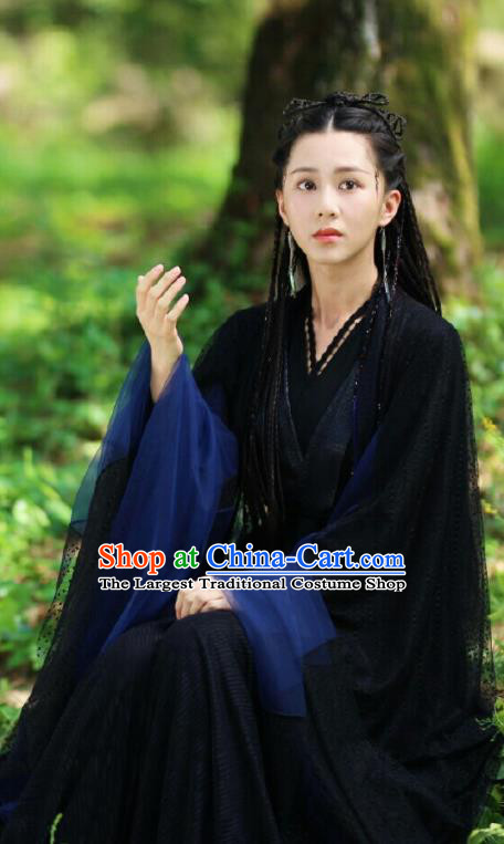 Chinese Drama Ancient Female Swordsman Black Dress Love and Destiny Princess Bao Qing Replica Costumes for Women