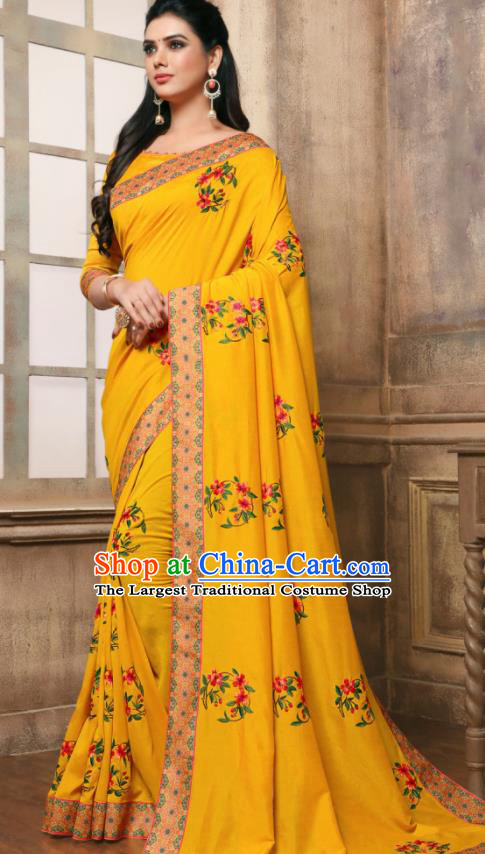 Indian Traditional Bollywood Embroidered Yellow Silk Sari Dress Asian India National Festival Costumes for Women