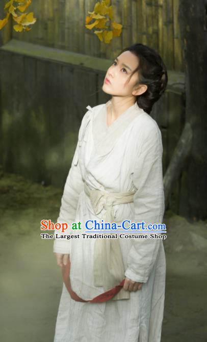 Chinese Ancient Female Civilian White Dress Drama Novoland Eagle Flag Yu Ran Replica Costumes for Women