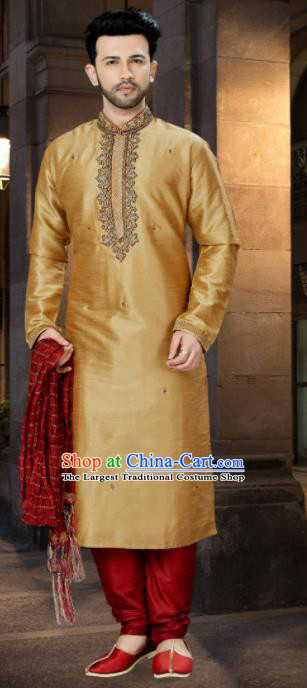 Asian Indian Sherwani Wedding Embroidered Golden Clothing India Traditional Bridegroom Costumes Complete Set for Men