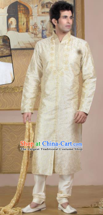 Asian Indian Sherwani Wedding Embroidered Beige Clothing India Traditional Bridegroom Costumes Complete Set for Men