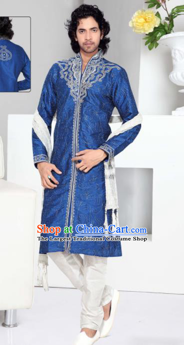 Asian Indian Sherwani Wedding Embroidered Royalblue Clothing India Traditional Bridegroom Costumes Complete Set for Men