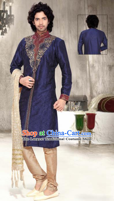 Asian Indian Sherwani Embroidered Deep Blue Clothing India Traditional Wedding Bridegroom Costumes Complete Set for Men