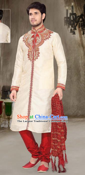 Asian Indian Sherwani Embroidered Clothing India Traditional Wedding Bridegroom Costumes Complete Set for Men