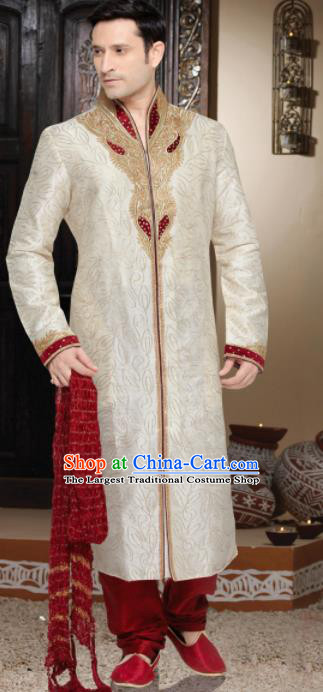 Asian Indian Sherwani Bridegroom Embroidered Apricot Clothing India Traditional Wedding Costumes Complete Set for Men