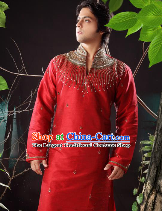Asian Indian Sherwani Bridegroom Embroidered Red Clothing India Traditional Wedding Costumes Complete Set for Men