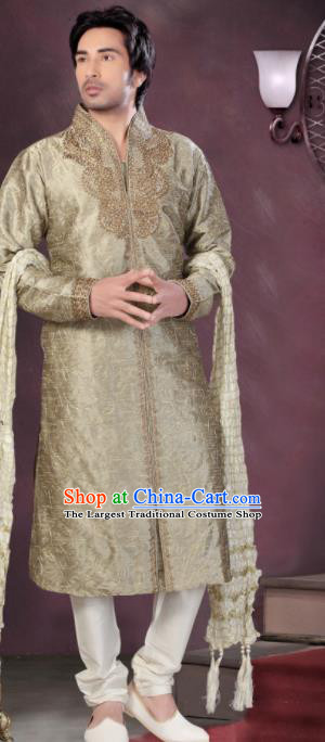 Asian Indian Sherwani Bridegroom Embroidered Khaki Clothing India Traditional Wedding Costumes Complete Set for Men