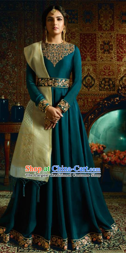 Indian Traditional Festival Peacock Blue Satin Anarkali Dress Asian India National Court Bollywood Costumes for Women