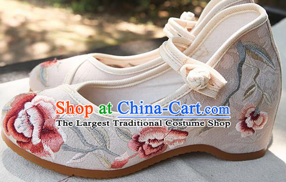 Chinese National White Shoes Traditional Hanfu Shoes Opera Shoes Embroidered Shoes for Women