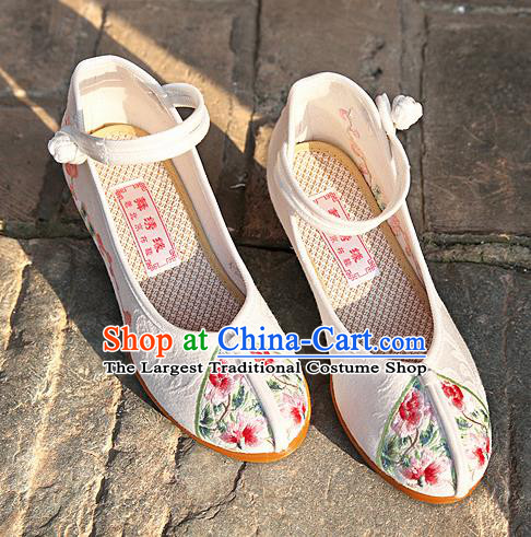 Chinese National White Embroidered Shoes Traditional Hanfu Shoes Opera Shoes Wedding Bride Shoes for Women