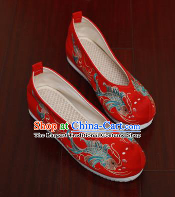 Chinese National Embroidered Carps Red Shoes Traditional Hanfu Shoes Opera Shoes Wedding Bride Shoes for Women