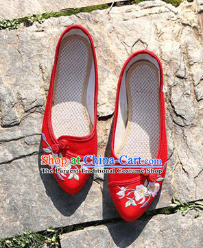 Chinese National Embroidered Flowers Red Shoes Traditional Hanfu Shoes Opera Shoes Wedding Bride Shoes for Women