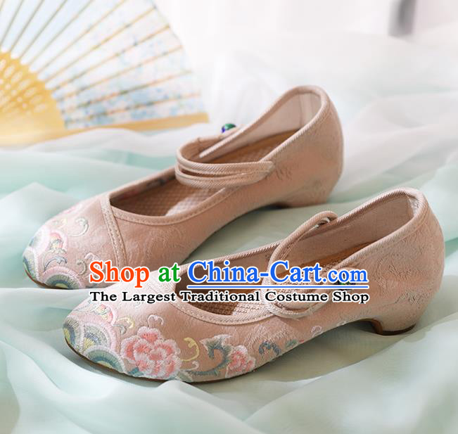 Chinese National Embroidered Peony Beige Shoes Traditional Hanfu Shoes Opera Shoes Wedding Bride Shoes for Women