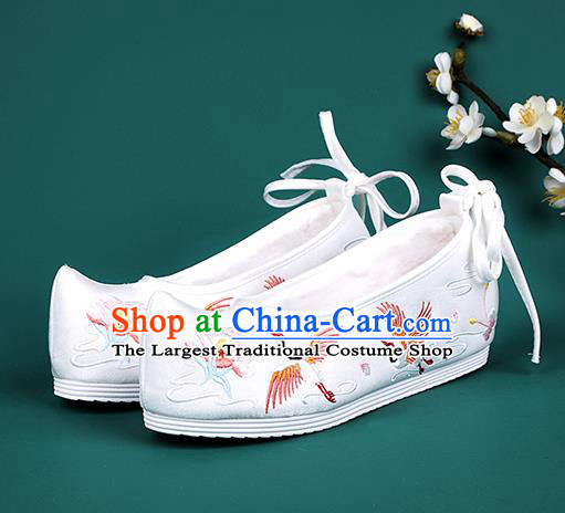 Chinese National Winter Embroidered Crane White Brushed Shoes Traditional Hanfu Shoes Princess Shoes Opera Shoes for Women