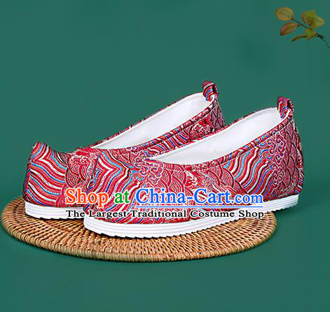 Chinese National Red Brocade Toe Spring Shoes Traditional Hanfu Shoes Princess Shoes Opera Shoes for Women