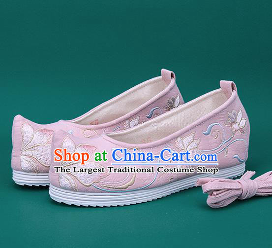 Chinese National Winter Brushed Pink Embroidered Shoes Traditional Hanfu Shoes Princess Shoes Opera Shoes for Women