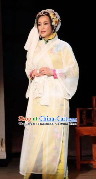 Chinese Unsurpassed Beauty Of A Generation Ancient Widow White Dress Stage Performance Dance Costume and Headpiece for Women