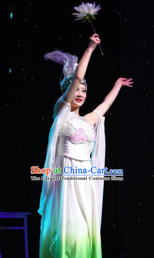 Chinese Impression of Suzhou Classical Dance Lotus Dance White Dress Stage Performance Costume and Headpiece for Women