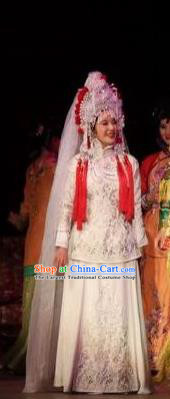 Chinese Unsurpassed Beauty Of A Generation Ancient Bride Wedding White Dress Stage Performance Dance Costume and Headpiece for Women