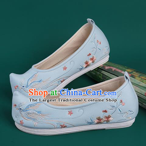 Chinese Traditional Embroidered Blue Cloth Shoes Hanfu Shoes Princess Shoes for Women