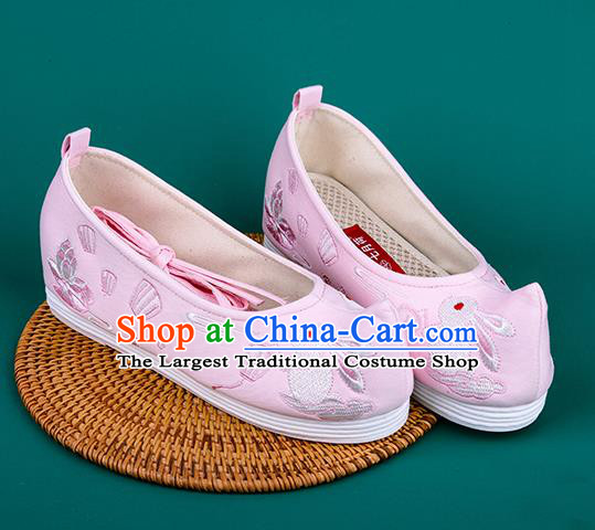 Chinese Traditional Embroidered Rabbit Pink Shoes Hanfu Shoes Princess Shoes for Women