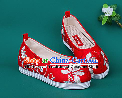 Chinese Traditional Embroidered Orchid Red Shoes Hanfu Shoes Princess Shoes for Women