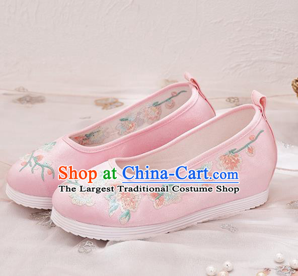 Traditional Chinese Embroidered Plum Pink Satin Shoes Hanfu Shoes National Shoes for Women