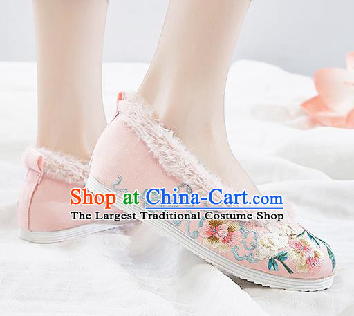Traditional Chinese Winter National Pink Shoes Embroidered Flowers Shoes Hanfu Shoes for Women